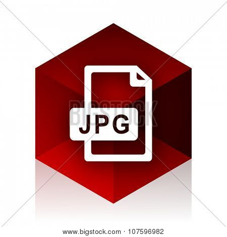 jpg file red cube 3d modern design icon on white background