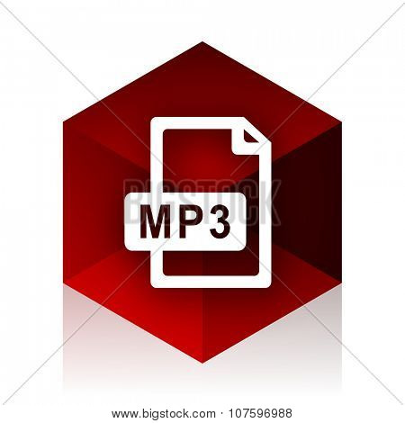 mp3 file red cube 3d modern design icon on white background