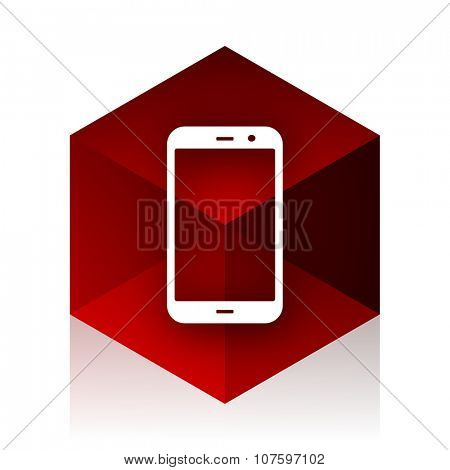 smartphone red cube 3d modern design icon on white background