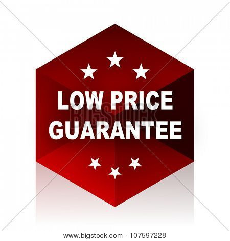 low price guarantee red cube 3d modern design icon on white background
