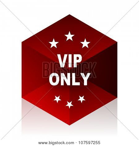 vip only red cube 3d modern design icon on white background