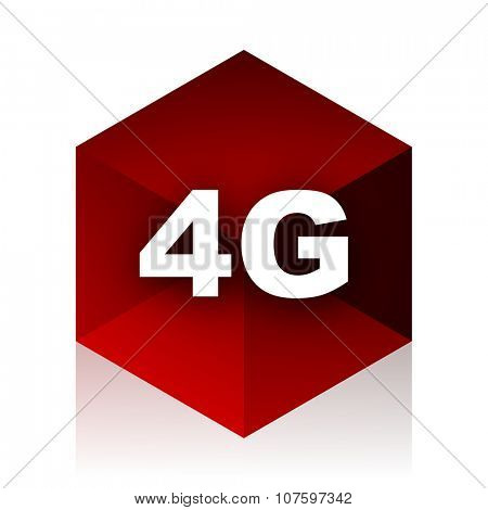 4g red cube 3d modern design icon on white background
