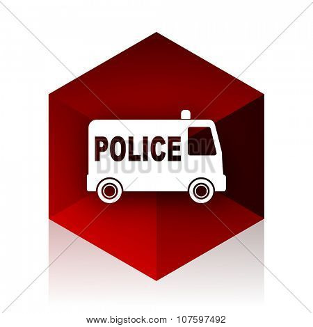 police red cube 3d modern design icon on white background