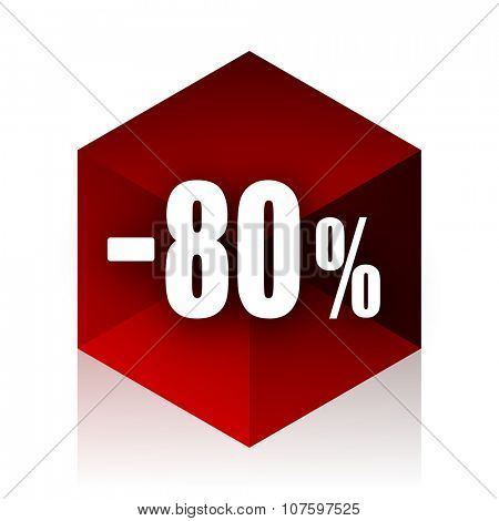 80 percent sale retail red cube 3d modern design icon on white background