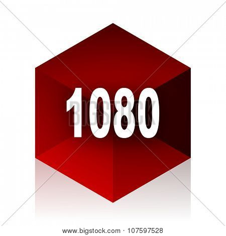 1080 red cube 3d modern design icon on white background