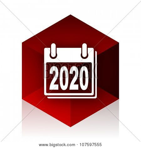 new year 2020 red cube 3d modern design icon on white background