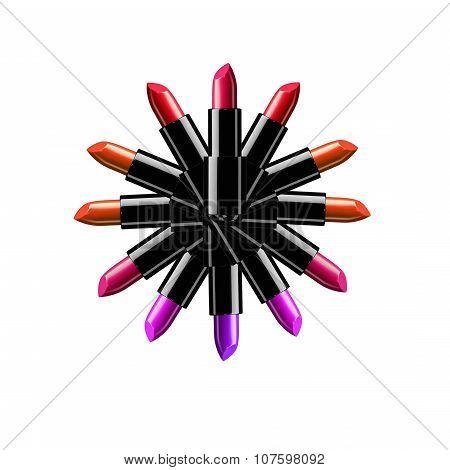 Beauty and fashion illustration - lipticks logo illustration