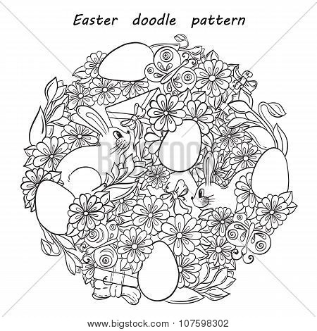 Floral doodle background pattern Happy Easter circle in vector. Henna paisley mehndi design tribal e