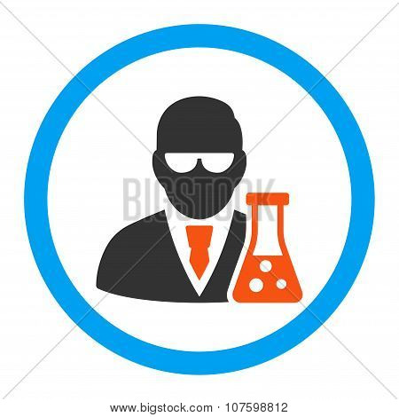 Scientist With Flask Rounded Vector Icon
