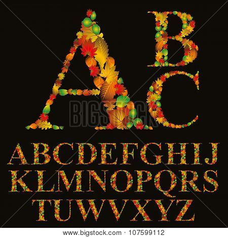 Floral Font Made With Leaves, Natural Alphabet Letters Set, Vector Design.