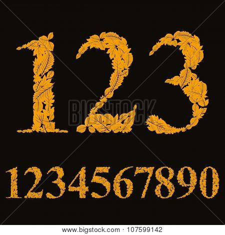 Floral Numbers Made With Leaves, Natural Numerals Set, Vector Design.