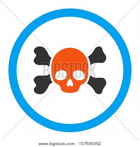 Skull And Bones Rounded Vector Icon