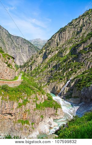 Reuss river in the swiss alps