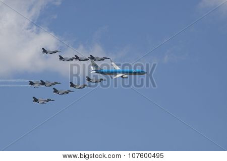Boeing 737 escorted by 10 fighter jets