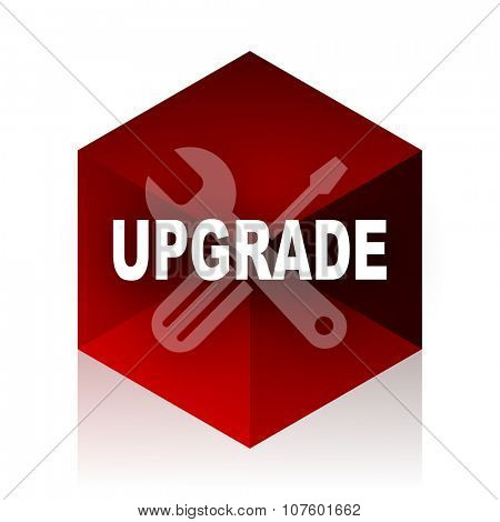 upgrade red cube 3d modern design icon on white background