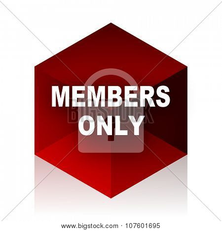 members only red cube 3d modern design icon on white background