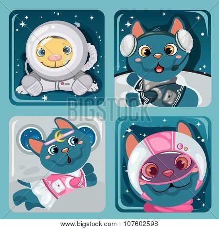 Four images of kitten astronauts, cute collection
