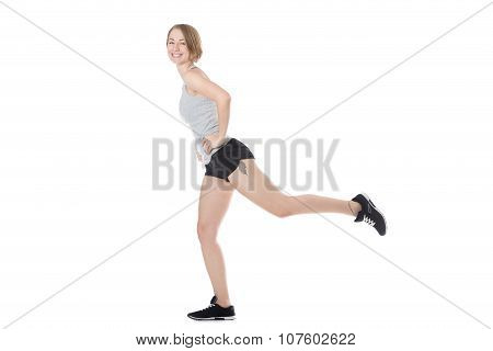 Sporty Woman Doing Gymnastics