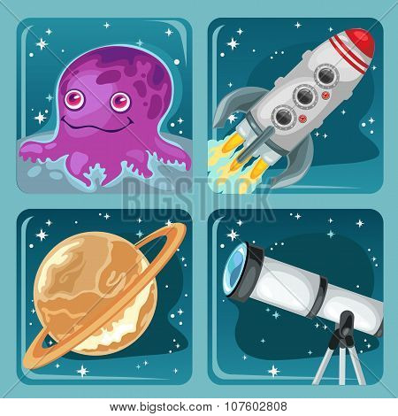 Four cartoon images of space objects