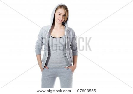 Sporty Woman In Sweatshirt Hoodie