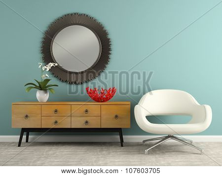 Part of  interior with stylish console and armchair 3D rendering
