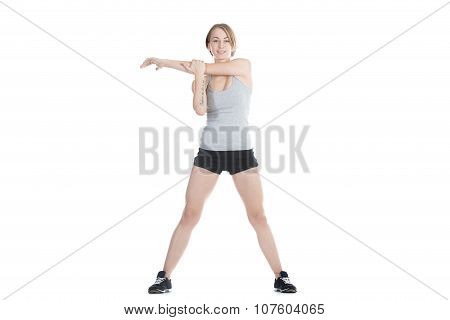Sporty Woman Stretching Shoulder Blade