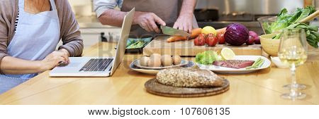 Family Cooking Kitchen Preparation Dinner Concept