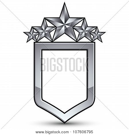 Festive Vector Emblem With Silver Outline And Five Pentagonal Stars, 3D Royal Conceptual Design Elem