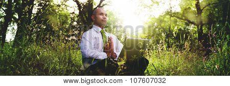 Green Businessman Meditation Technology Peaceful Concept