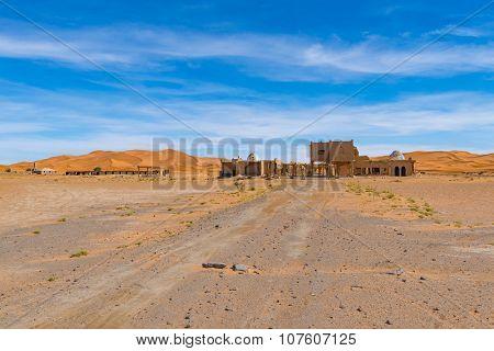 Africa, Morocco - Ruins in Sahara Desert - Erg Chebbi Dunes