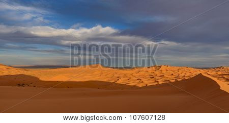 Africa, Morocco - Panoramic view of Erg Chebbi Dunes at sunset -  Sahara Desert -