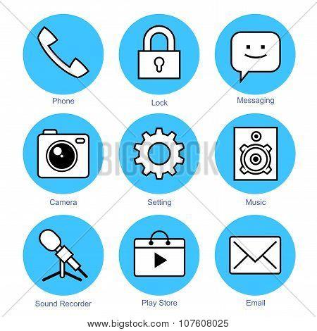 Line Icons Set. Smartphone