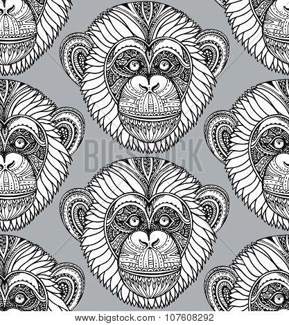 Seamless Pattern With Hand Drawn  Ornate Zentagle Chimpanzee Monkey