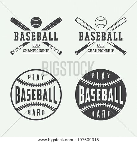 Vintage Baseball Logos, Emblems, Badges And Design Elements. Vector Illustration