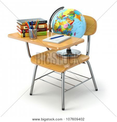 Wooden school desk and chair with books, pencils and globe isolated on white. 3d