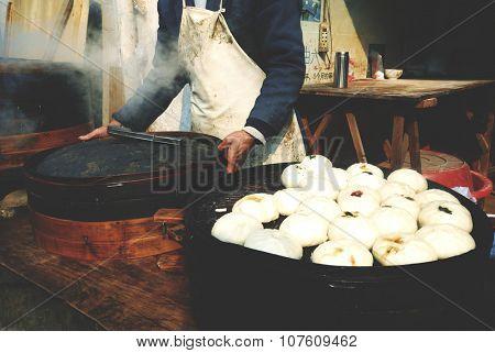 Steamed Dumplings Asian Culture Street Food Concept