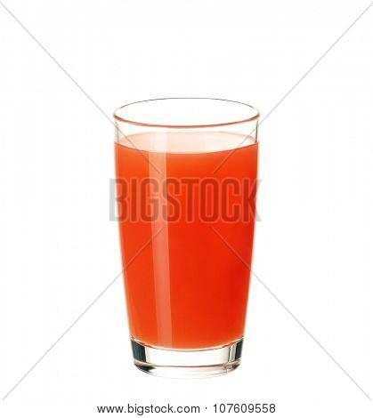 Glass of fresh grapefruit juice isolated on white background