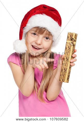 Portrait of happy little girl in santa hat with gift box over white background