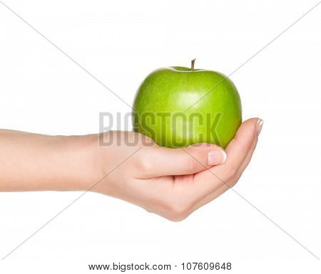 Woman hand with green apple isolated on white background