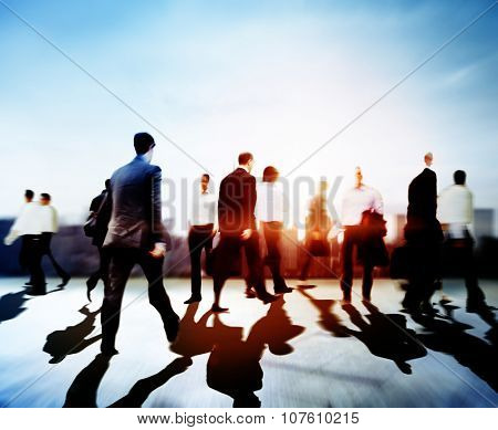 Business People Commuter Travel Walking Corporate City Concept