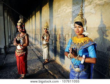 Cambodian Greeting Style Ancient Angkor Wat Apsara Concept