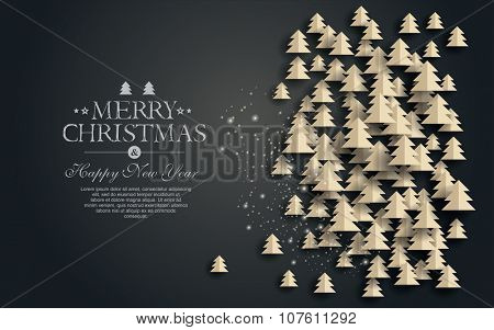 Vector  paper Christmas. Design elements for holiday cards.