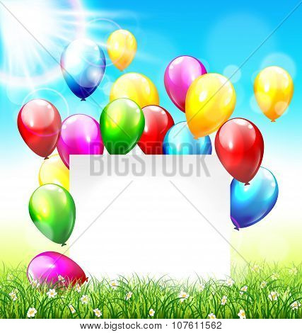 Celebration Background With Frame Balloons Grass Lawn And Sunlig