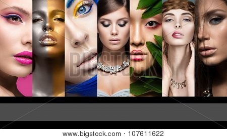Collection of art and evening makeup. Beautiful girls. Beauty face.