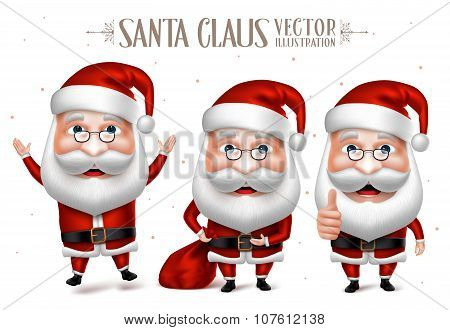 Set of Santa Claus Cartoon Character for Christmas