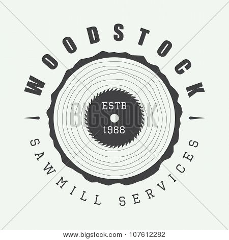 Vintage Sawmill Logo With Axes, Rocks, Trees. Vector Illustration
