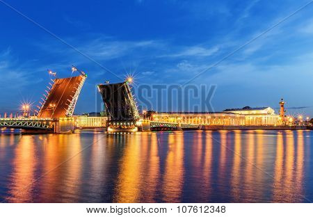 Palace Bridge In Saint Petersburg Drawn At Night