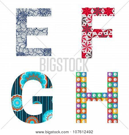 Set Of Colorful Patterned Letters