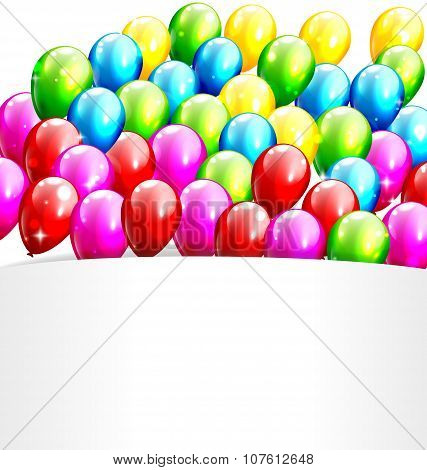 Multicolored Party Balloons With White Copy Space