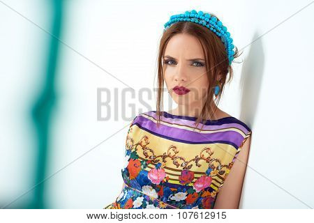 Fashion photo of young magnificent woman.